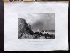 Holmes C1840 Antique Print. Wreck near Black-Gang Chine, Isle of Wight